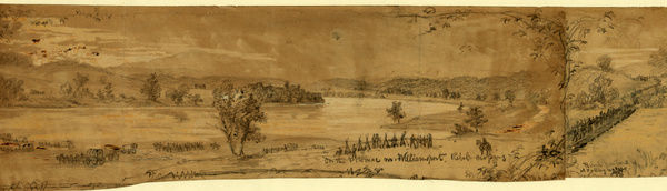 On the Potomac nr. Williamsport. Rebel crossing, Rebel Pontoons at Falling Waters, drawing, 1862-1865, by Alfred R Waud, 1828-1891, an american artist famous for his American Civil War sketches, America, US