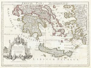 1794, Delisle Map of Southern Ancient Greece, Greeks Isles, and Crete