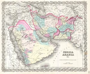 1855, Colton Map of Persia, Afghanistan, and Arabia