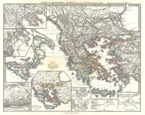 1865, Spruner Map of Greece, Macedonia and Thrace before the Peloponnesian War