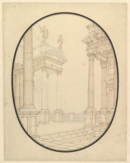 Architectural Perspective, in an Oval: Porch of a Palace with Corinthian Colums