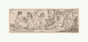 Bacchanal with satyr playing a lute and surrounded by four figures, who look toward