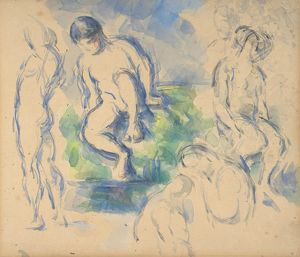 Bathers (recto) ; Still Life (verso), n.d., Watercolor over graphite (recto); watercolor