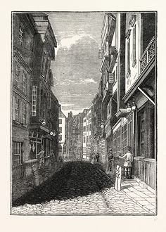 Butcher Row, Temple Bar, London, England, engraving 19th century, Britain, UK