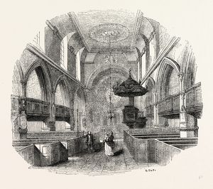 Chancel St. Giles, Cripplegate, London, England, engraving 19th century, Britain, UK