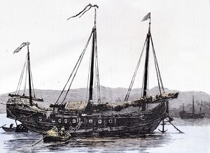 Chinese Junk. Engraving 1884
