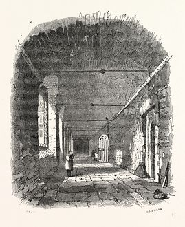 Cloisters, Charter House, London, England, engraving 19th century, Britain, UK
