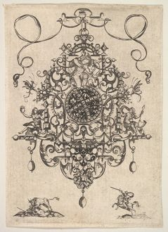 Design for a Pendant with Cupid, 1609, Engraving and blackwork, Plate: 5 1/4 x 3 11/16 in