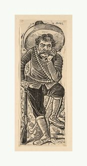 Emiliano Zapata leaning on his gun, ca. 1911, Etching on zinc, Sheet: 6 3/4 A— 2 9/16 in