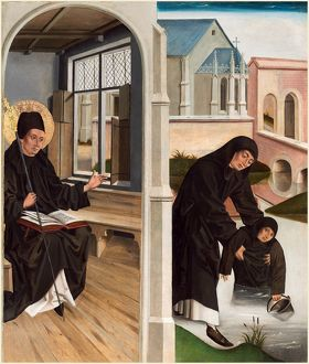 French 15th Century, A Miracle of Saint Benedict, c. 1480, oil on oak