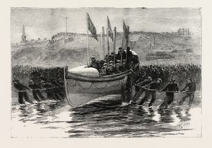 THE LAUNCH OF A NEW LIFEBOAT AT CULLERCOATS NORTHUMBERLAND, ENGRAVING 1884, UK, britain