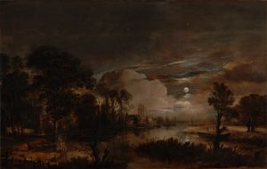 Moonlit Landscape with a View of the New Amstel River and Castle