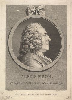Portrait of Alexis Piron, 1776, Etching and engraving; fifth state of five (Bocher)
