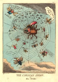 Thomas Rowlandson (British, 1756 1827 ), The Corsican Spider in his Web, published 1808