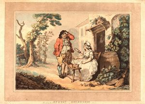 Thomas Rowlandson (British, 1756 - 1827 ), Rustic Courtship, 1785, hand-colored etching