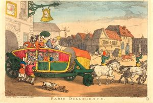 Thomas Rowlandson (British, 1756 - 1827 ), Paris Diligence, probably 1810, hand-colored