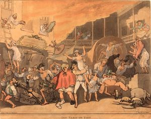 Thomas Rowlandson (British, 1756 - 1827 ), The Inn Yard on Fire, 1791, hand-colored