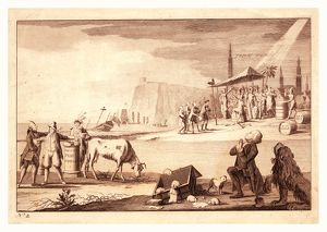 York town, en sanguine engraving shows America receiving the surrender of Cornwallis
